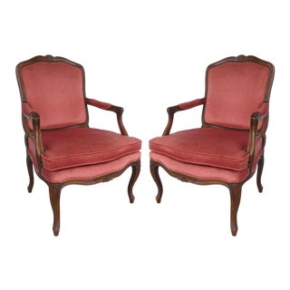 Fauteuil Arm Chairs in Velvet- a Pair