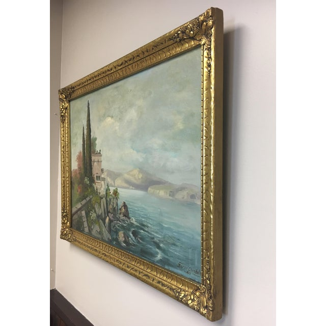 Traditional Vintage European Seascape Oil Painting For Sale - Image 3 of 9