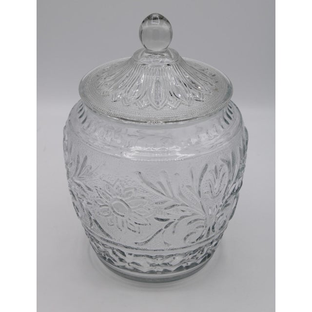 Mid-Century Modern 1950s Sandwich Glass Jar With Lid For Sale - Image 3 of 7