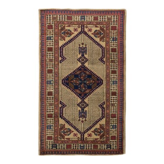 Antique Persian Sarab Rug With Brown & Navy Blue Geometric Patterns For Sale