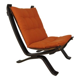 Westnofa Style Mid-Century Danish Bentwood Orange Sling Chair For Sale