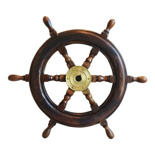 Vintage Nautical Maritime Ship's Boat Steering Wheel For Sale