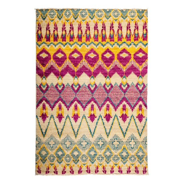 """Ikat Hand Knotted Area Rug - 4'3"""" X 6'1"""" - Image 1 of 3"""