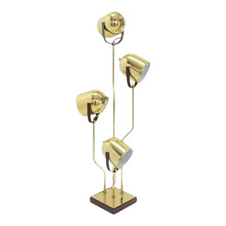 Mid-Century Modern Brass Finish Adjustable Table Lamp For Sale