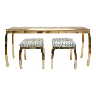 MASTERCRAFT BRASS CONSOLE AND BENCHES