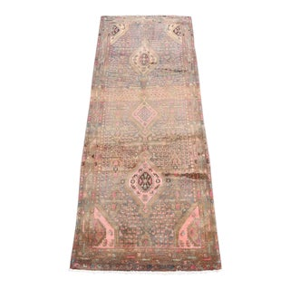 Semi Antique Persian Pink Summer Runner Rug - 3′6″ × 9′3″ For Sale