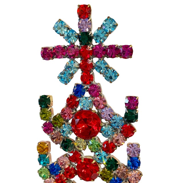 A Czechoslovakia rhinestone Christmas tree with beautiful multi colored rhinestones in red, yellow, blue and pink in...