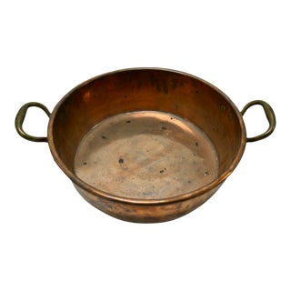 "19th Century Copper Pan With Brass Handles - 16"" Diam For Sale"