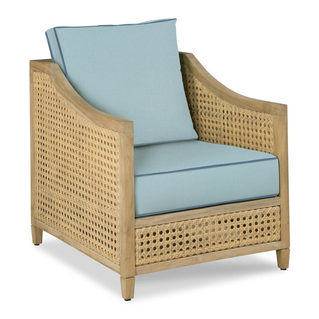Casa Cosima Keys Occasional Arm Chair, Mineral Blue and Sapphire Blue For Sale - Image 4 of 4
