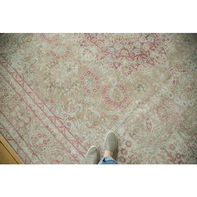 "Vintage Distressed Meshed Carpet - 9'3"" x 12'5"" For Sale - Image 4 of 10"