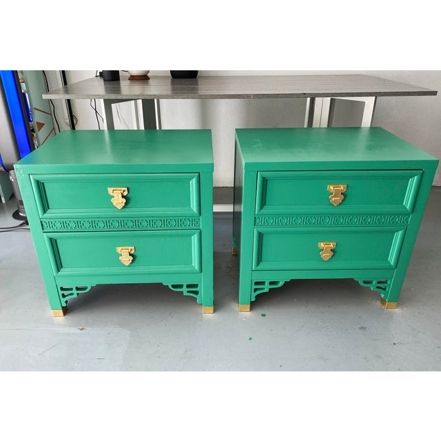 Asian 1960's Dixie Shagri La Green and Gold Leaf Hollywood Regency Nightstands- a Pair For Sale - Image 3 of 13