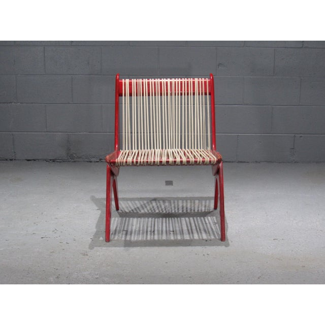 1950's Mid Century Modern Red Painted Wood and Rope Scissor Chair For Sale In Boston - Image 6 of 10