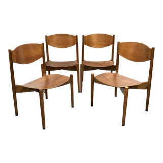 Mid Century Modern Jen Risom General Purpose Stacking Chairs—Set of 4 For Sale