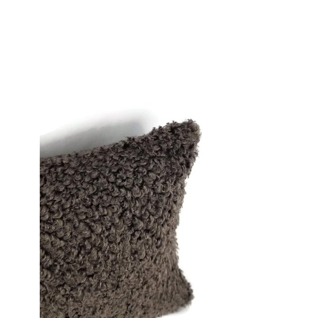 """Contemporary Cowtan and Tout Shearling in Mink Brown Pillow Cover - 10.5"""" X 20"""" For Sale - Image 3 of 4"""