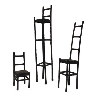 Artisan Iron Chair Sculptures - Set of 3 For Sale