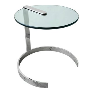 Mid Century Round Chrome and Glass Cantilevered Side Table For Sale
