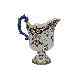 1930s Oversized French Faience Water Pitcher For Sale