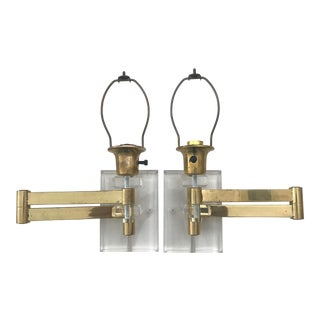Walter Von Nessen Karl Springer Style Lucite Acrylic Brass Wall Sconces - a Pair For Sale
