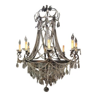French Provincial Curry and Company Crystal Chandelier For Sale