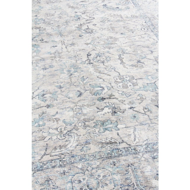 Exquisite Rugs Biron Handmade Wool & Viscose Beige & Blue - 8'x10' For Sale In Los Angeles - Image 6 of 9