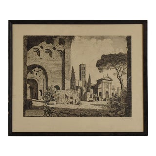 Antique Italian Etching Signed by Laurenzi, Secret Message Inside For Sale