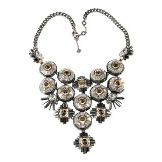 Henri Bendel Bib Necklace Gray Hematite & Clear Crystals For Sale