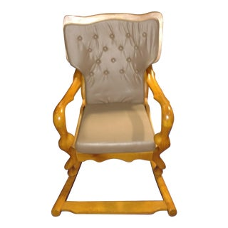 Custom Made Solid Exotic Curved Wood Rocking Chair With Rare Footboard and Long Curved Stile Is Underpriced. We Have Relocated and Do Not Have Space. For Sale