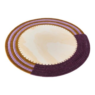 Round Sisal & Wood Stripe Charger Eggplant/Tobacco & Lilac For Sale
