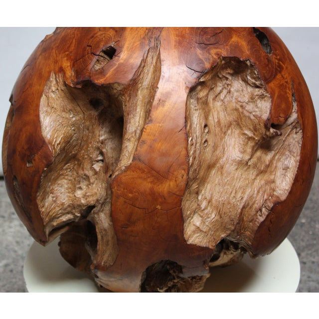 Midcentury Redwood Burl Sphere Sculpture For Sale In New York - Image 6 of 13
