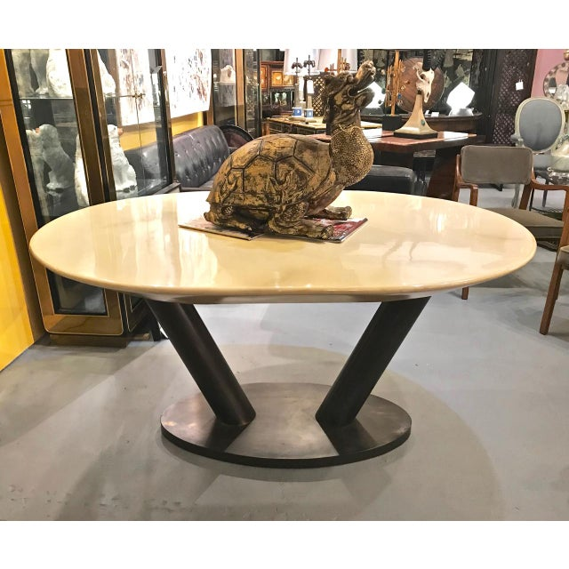1980s Mid-Century Modern Karl Springer Lacquered Goatskin Dining Table For Sale - Image 5 of 10