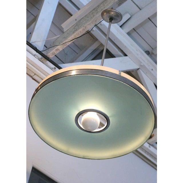 Art Deco Original May Company Wilshire Streamline Art Deco Pendant Ceiling Lamp, Pair For Sale - Image 3 of 8