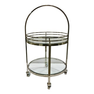 Modern Regina Andrew Chrome and Glass Rolling Bar Cart For Sale