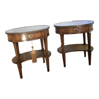 Pair of Grosfeld House Oval Fruitwood Side Tables For Sale