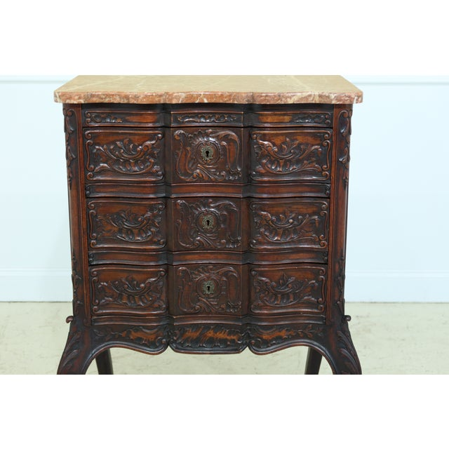 Item: F49223EC: Vintage French Louis XV Marble Top Walnut Chest Age: C1890-1910 Details: Solid Walnut Hand Dovetailed...