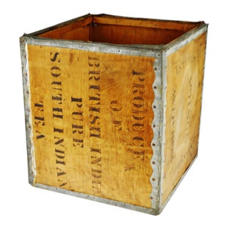 Antique British India Pure South Indian Wood Tea Crate For Sale