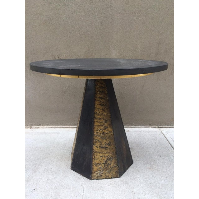 Mid-Century Modern Paul Evans Round Slate Top Table For Sale - Image 3 of 7