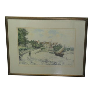 "Manuel Robbe French ""Low Tide at Longuivi"" Large Signed Aquatint, 19th Century For Sale"