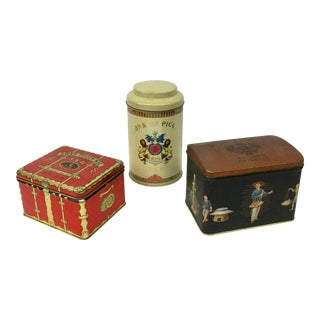 Vintage Tin Tea Canisters - Set of 3