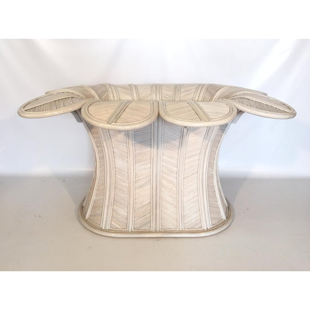 Tropical Pencil Reed Rattan Bell Flower Table Base Chairish