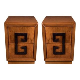 Pair of Elegant Mid-Century Modernist Greek Key Nightstands by Kittenger For Sale