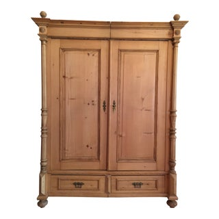 Antique European Pine Armoire For Sale