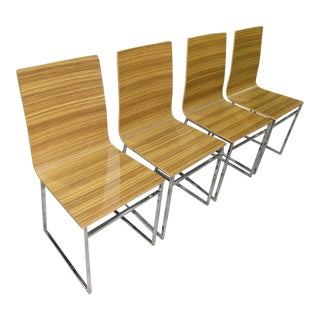 Vintage Modern Zebra Wood Chairs - Set of 4 - Made in Italy by Biebi For Sale