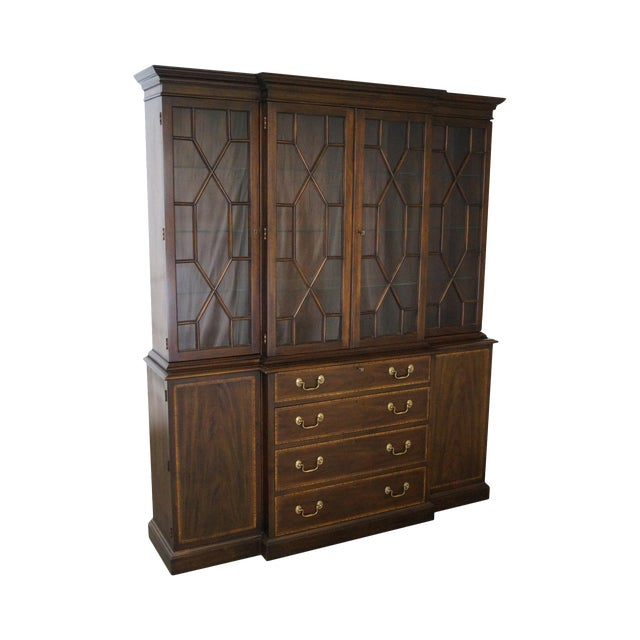 Henkel Harris Mahogany Chippendale Style London Breakfront For Sale