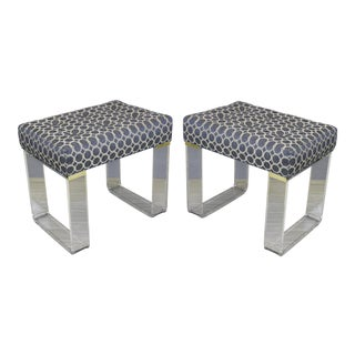 Infinity Style Blue Lucite Benches - A Pair For Sale