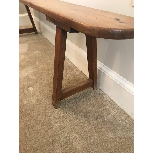 Vintage Primitive Long Handmade Bench For Sale - Image 4 of 9