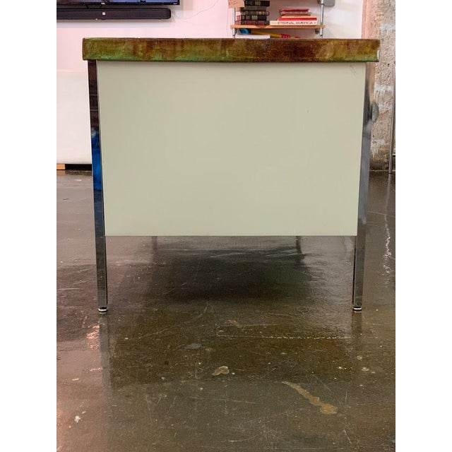 Steelcase Vintage Allsteel Executive Tanker Desk With Custom Stained Concrete Top in Warm Tones For Sale - Image 4 of 7
