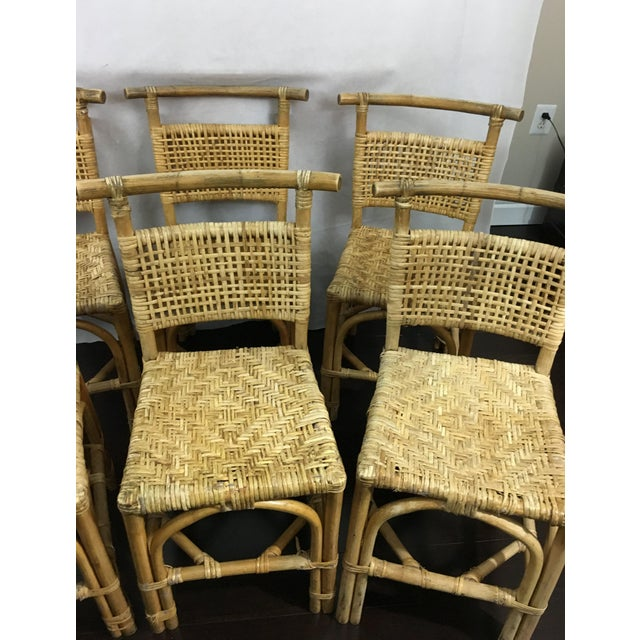 Vintage Bamboo and Rattan Chairs - Set of 6 - Image 4 of 10