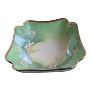 Antique Hand-Painted Signed Porcelain Bowl by Limoges For Sale