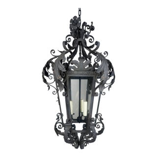 Spanish Wrought Iron Lantern W/ Flowers & Acanthus Leaves, Circa 1920's For Sale