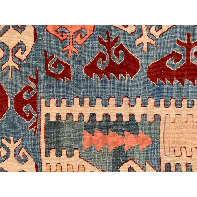 Blue and Coral Kilim Rug- 3′8″ × 5′2″ For Sale In Los Angeles - Image 6 of 10